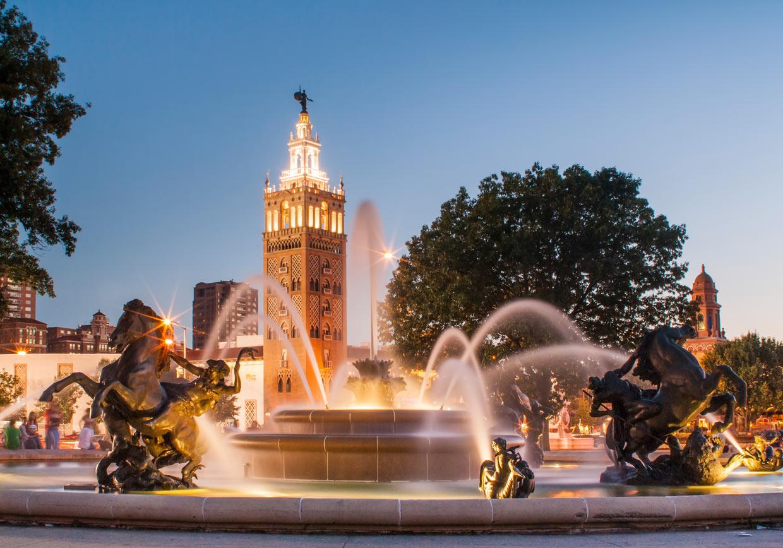 Обои missouri, kansas city, country club plaza, Jc nichols memorial fountain, канзас-сити. Города foto 9
